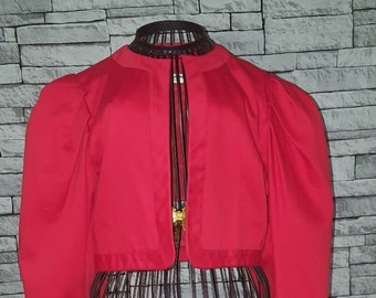 d6007c09ef3 Ladies Size UK 12 14 EU 42 Vintage 1980's YSL Yves Saint Laurent Rive  Gauche Red Cropped Jacket