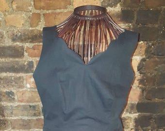 Ladies Size UK 16 Vintage 1980's Laura Ashley Black Scallop Hem Swing Dress