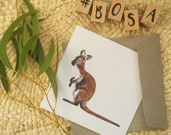 Wallaby Birthday Card or Special Occasion Card / Blank Inside / Made in Tasmania / Original and Great for Boys or Mens Bithday Cards