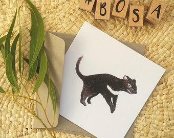Tassie Devil Art Card / Blank Inside / Tasmanian Made / Great Birthday Card , Special Occasion Card or Fatherdays Card / Unique and Special