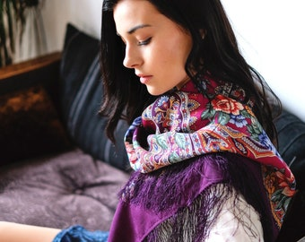 foulard russe 125 cm laine fine frange authentique Pavlovski Possad châle  russe dessin floral, foulard ethnique, châle bohème 64f7c796440