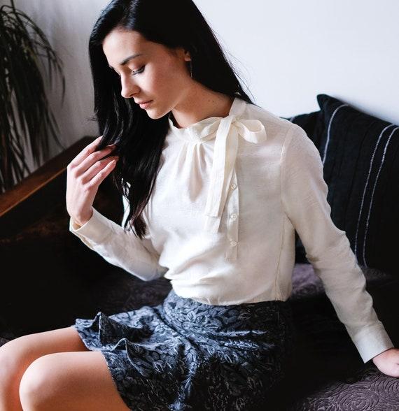 long sleeve shirt Chic shirt in organic cotton russian scarf timeless shirt round collar shirt