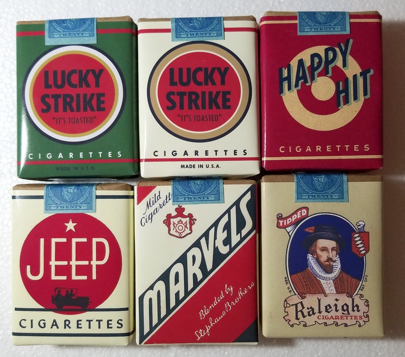 Movie prop: Fake Vintage Cigarettes Packs Lucky Strike Jeep Happy Hit  Marvel x6