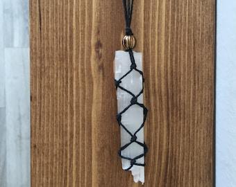 White Selenite Hemp Macrame Pendant Necklace