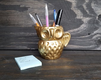 Gold Owl Pencil Holder | Metallic Gold Desk Organizer | Harry Potter Owl Pencil Holder