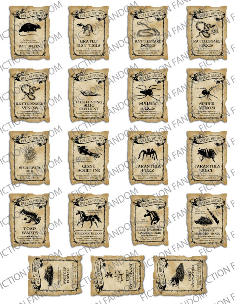 picture relating to Harry Potter Potion Book Printable identified as HL3 19 Printable Magic Potion Labels Magical Witch Wizard Accent  Halloween Labels Electronic Down load 2\