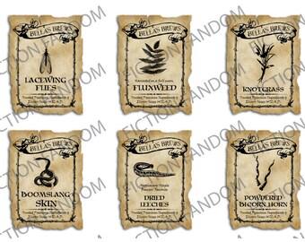 "Printable Labels   6 Polyjuice Potion Printable Ingredients Labels   Harry Potter Inspired   Digital Download    PJP   2"" x 1.5"""