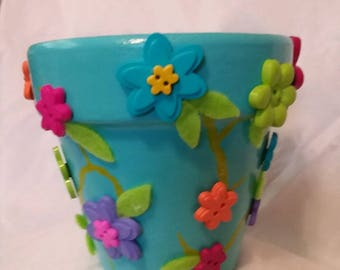 Teal Flower Pot