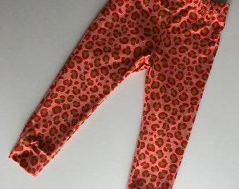 Coral leopard full print leggings