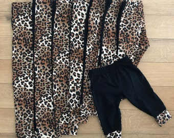 Black and leopard duo cotton jersey leggings