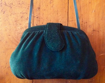 Vintage Late 70's - 80's Purse Forest Green Suede Leather Clutch, Crossbody, Shoulder Bag Magnetic Clasp