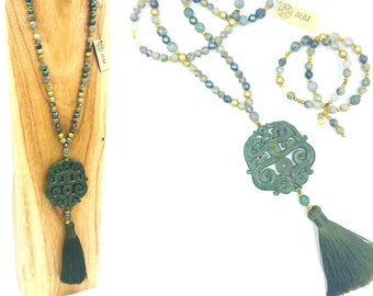 Long Green Jade necklace