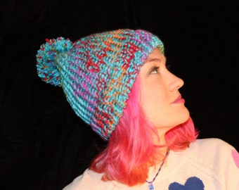 Blue Pompom Hat with Bright Color Cycle