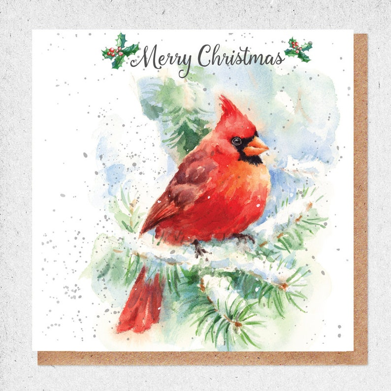 Christmas Gift Card Red Robin Christmas Card Watercolour Etsy