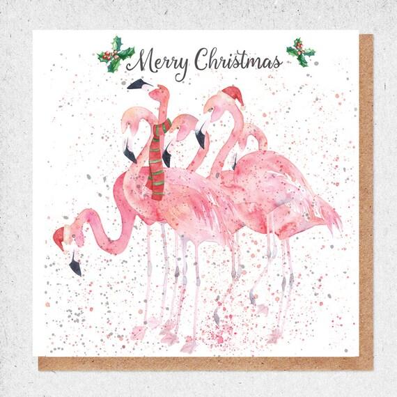 Flamingo Christmas Cards.Christmas Gift Card Pink Flamingo Christmas Card Watercolour Painting Gift Card Stylish Card Bird Christmas Card Happy Christmas Card