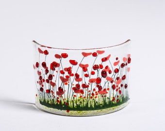 Pam Peters Designs - Handmade Fused Glass Art- Poppies Curve