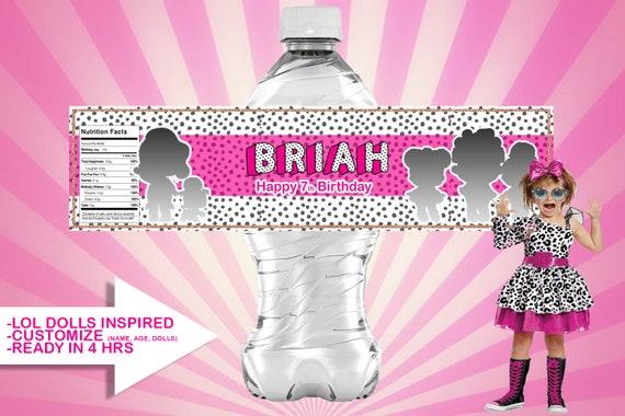 Lol Surprise Dolls Inspired Water Bottle Labels Etsy