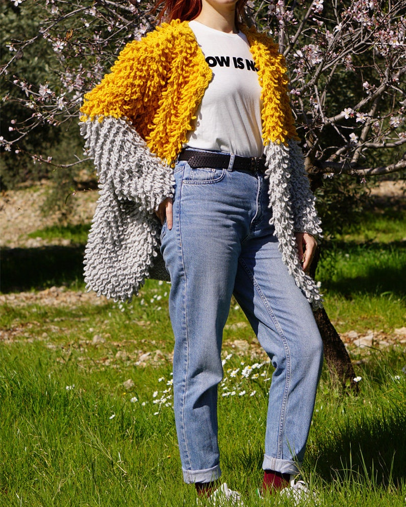 Casual Sweater Autumn Handmade Oversized Yellow /& Gray Slouchy Style Loop Knit Cardigan Spring Mustard Knitting