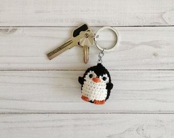 Crochet penguin keychain, keyring mini penguin