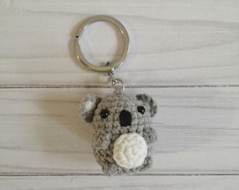 Koala keychain, tiny crochet animals, driving gift, gift for him, gift for her, driver gift