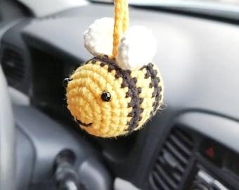 Car hanging charm crochet tiny bee