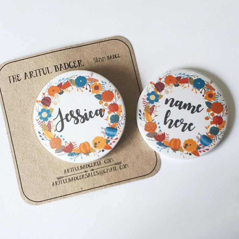 Custom name button badge  Floral name badge  Name pin badge  58mm name  badge  Personalised button badge