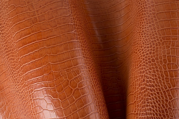 Light Brown Crocodile Embossed Print ITALIAN Leather Calf Cow Hide Scraps Scrap Square Pieces Swatches Samples  5x5-20x20in.