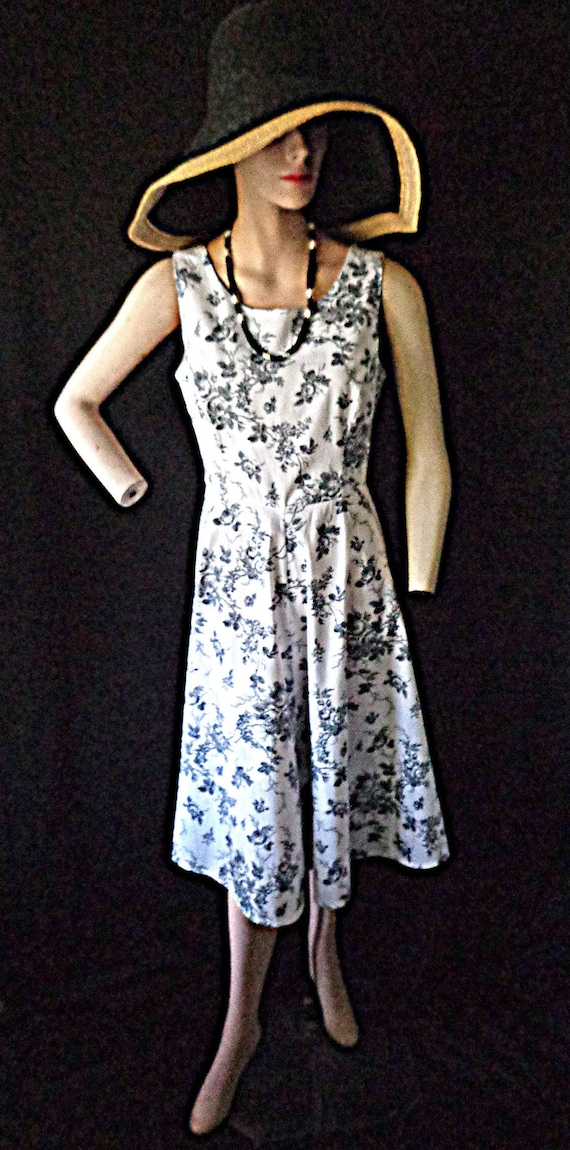 Laura Ashley Black Rose Toile Dress 6