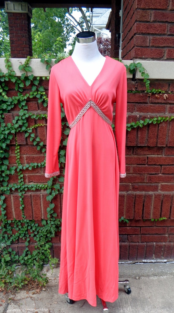 Toni Todd Coral Orange Long Gown  M
