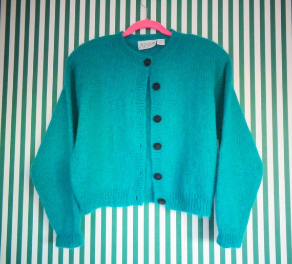 Autograph Turquoise Green Mohair Blend  Cropped Ca
