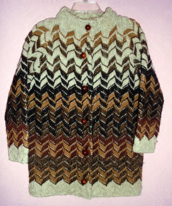 Dalton 1960s Chevron Knit  Wool Cardigan Sweater S