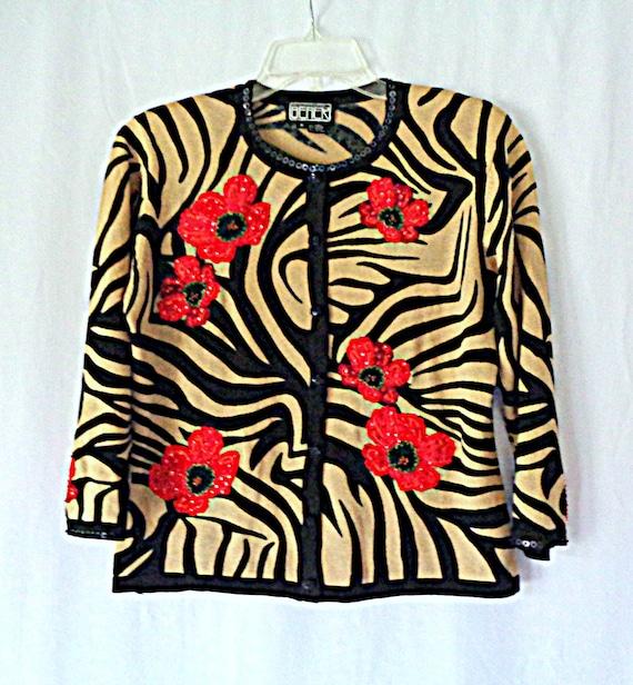 BEREK Red Poppies Cardigan Sweater M
