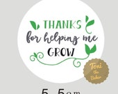 25pcs 50pcs 100pcs custom Thank You Stickers Thank you for helping me grow tags,thank you tags for teachers,succulent favor tags,teacher app