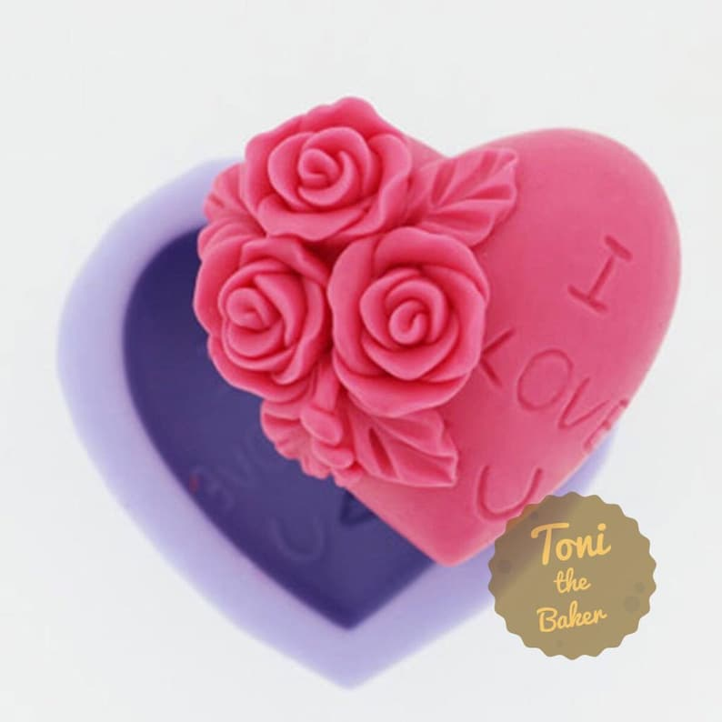 Heart Rose I LOVE U Soap Mold Flexible Silicone Mold For Handmade Soap Candle Candy