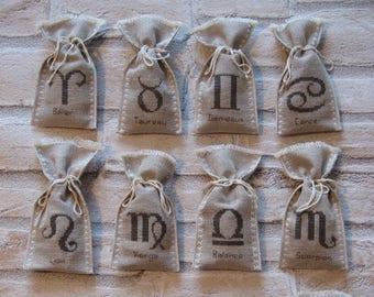 Bag of lavender with astrological sign