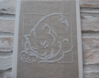 Cat embroidery on canvas painting frame