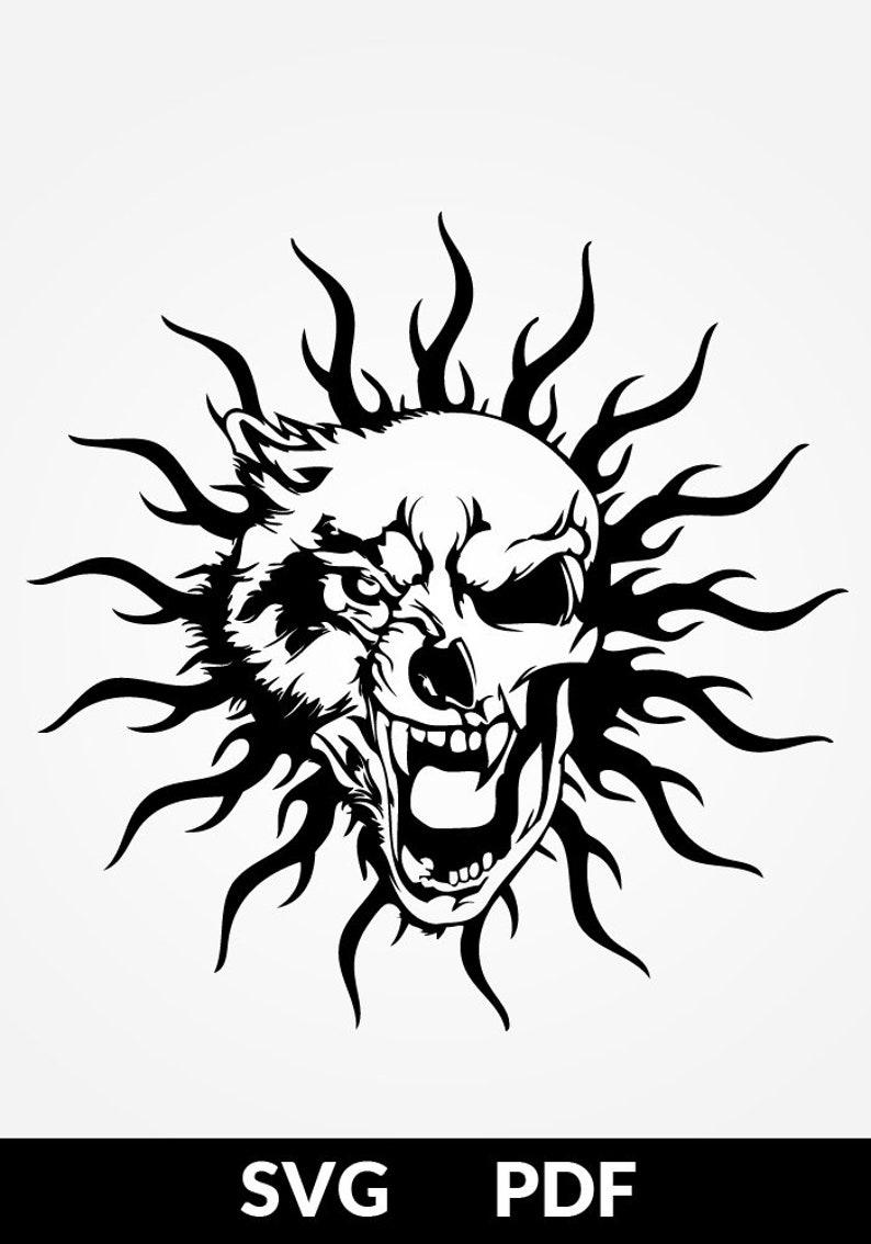 SVG / PDF cut file, Paper Cutting Template, skull tattoo, wolf tattoo,  papercut, diy project, vinyl, digital printing template