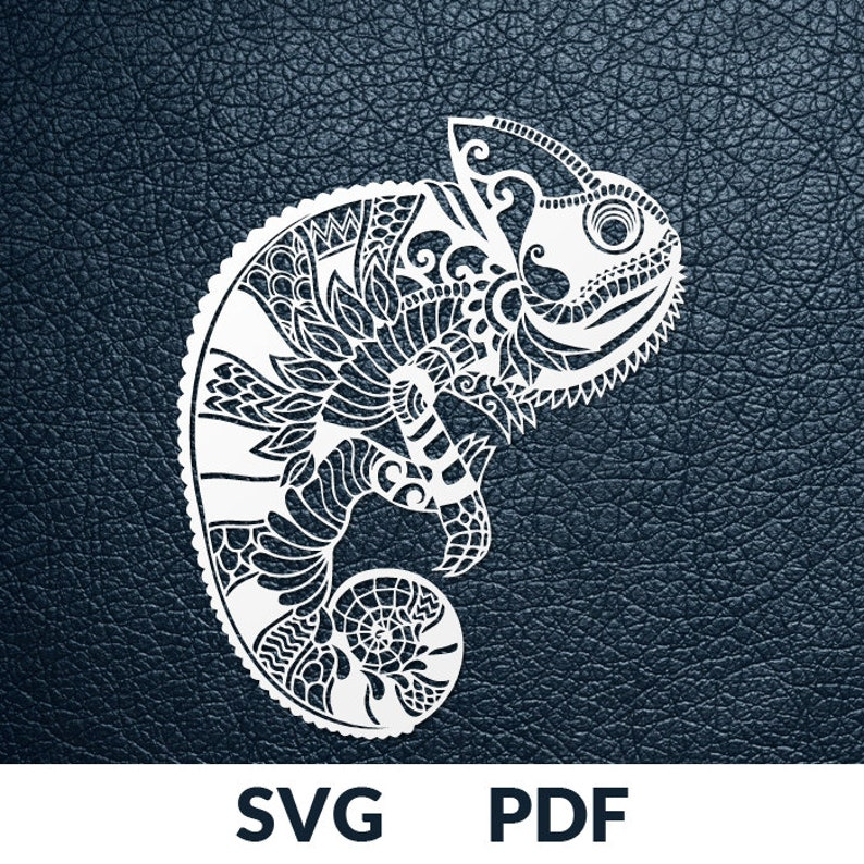 Svg Pdf Cut File Paper Cutting Template Chameleon Lizard Etsy