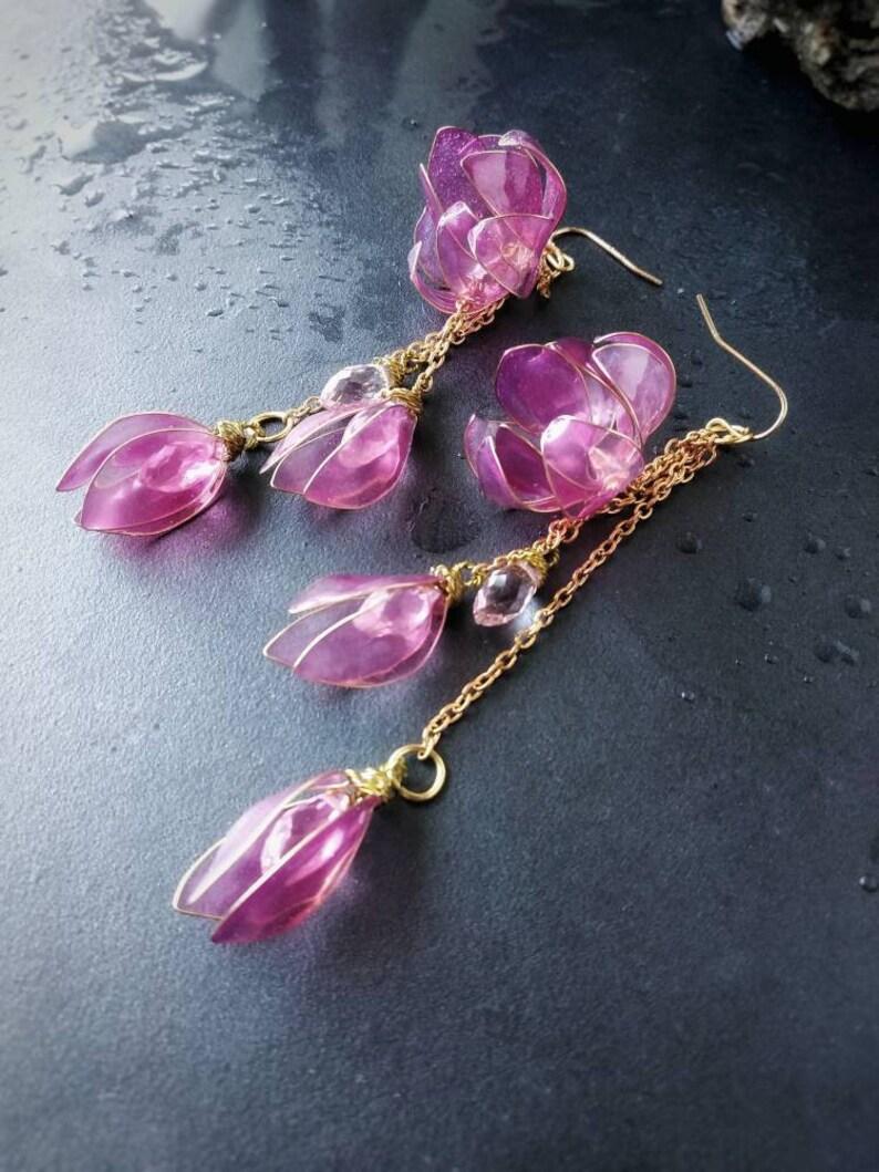 Ohrclips Ring Ohrstecker oder Kette mit Hibiskus-Blume-pink