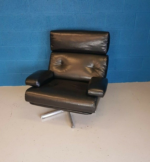 Cool Vintage Retro 1970S Black Leather Tetrad Nucleus Swivel Armchair New Upholstery Creativecarmelina Interior Chair Design Creativecarmelinacom