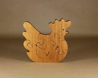 Wooden puzzle chicken