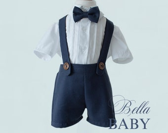 bcbbca12c58d Boys wedding outfit. Navy ring bearer outfit, page boy outfit. Christening  shorts, white shirt and bow tie.