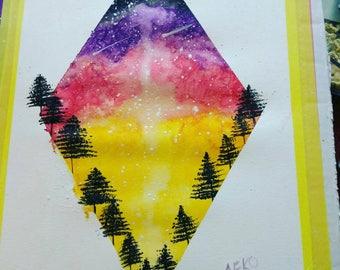 Abstract watercolor painting print