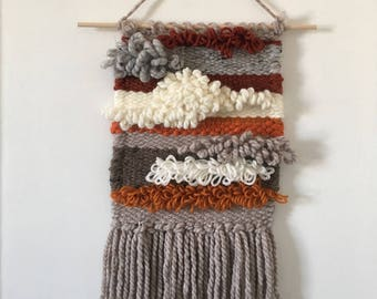 Handmade Wall Hanging -- Multicoloured Wool -- Warm Colours