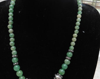 """Antique/Vintage Jade & 925 Silver Bead Necklace 16"""""""