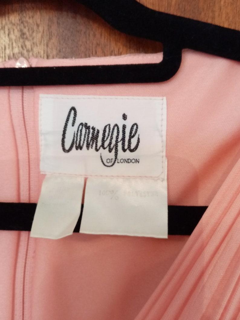 Vintage 70/'s Carnegie-London Ladies PeachPink Long ColumnGrecian Evening Dress 16