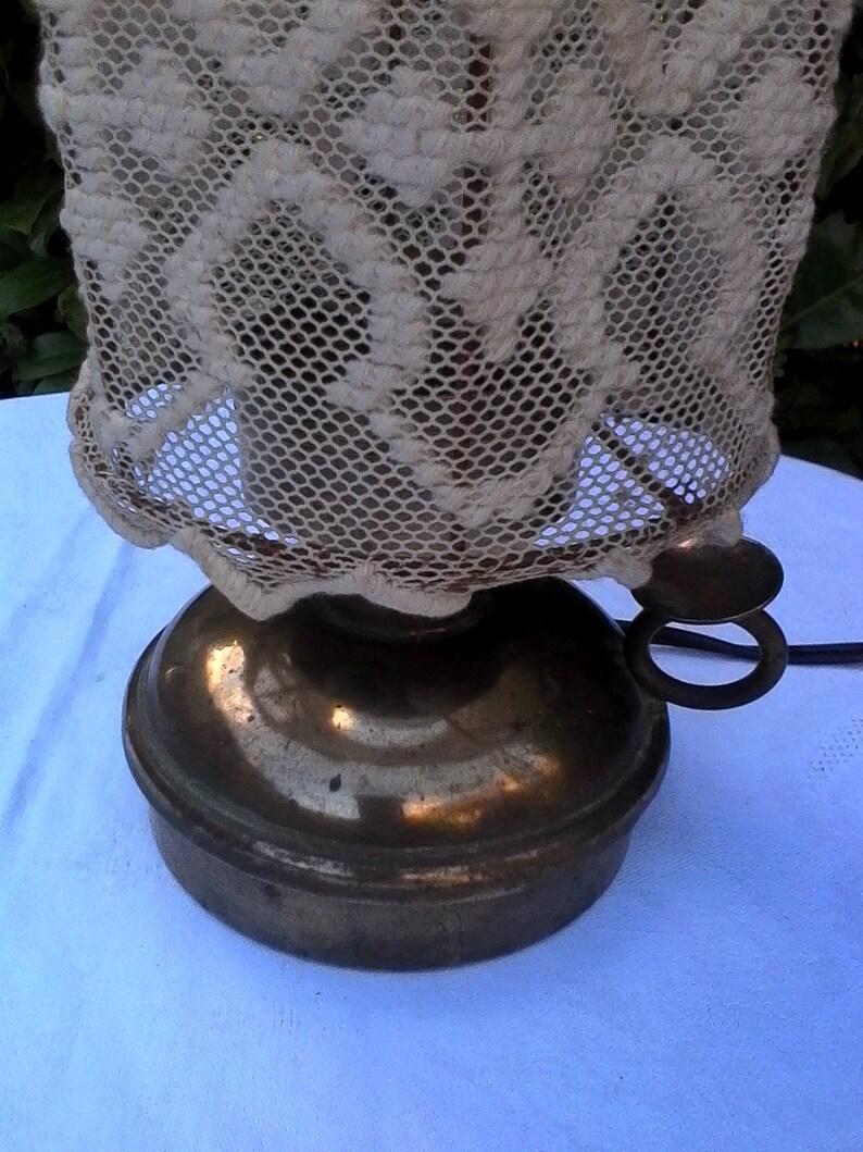 Main Jour Lampe 1930 Abat Cuivre Brodé Années cRj5A3Lq4