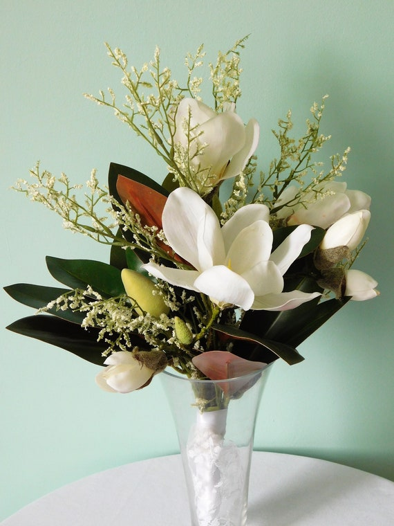 White magnolia bouquet wedding bouquet silk wedding flowers etsy image 0 mightylinksfo