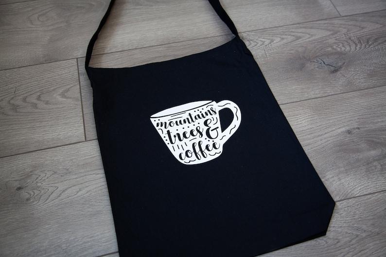 Coffee Mountain and Trees Coffee Bag Long Tote Bag Cute Gift Idea Coffee Lover Gift Coffee Mug Coffee Bag Coffee Addict