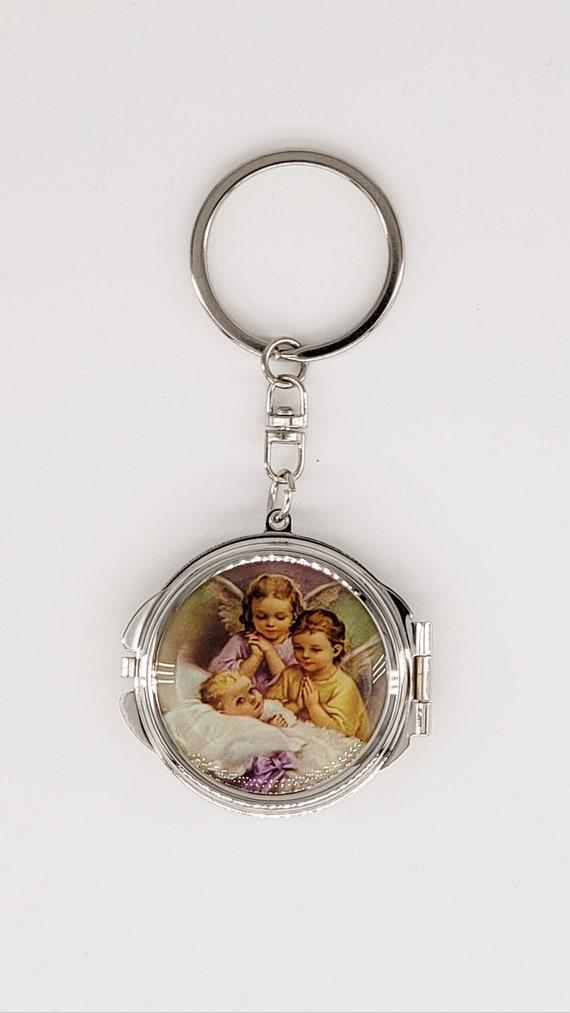 12Pcs Baptism Compact Miror Keychain Recuerdos de Bautizo Communion Party Favors